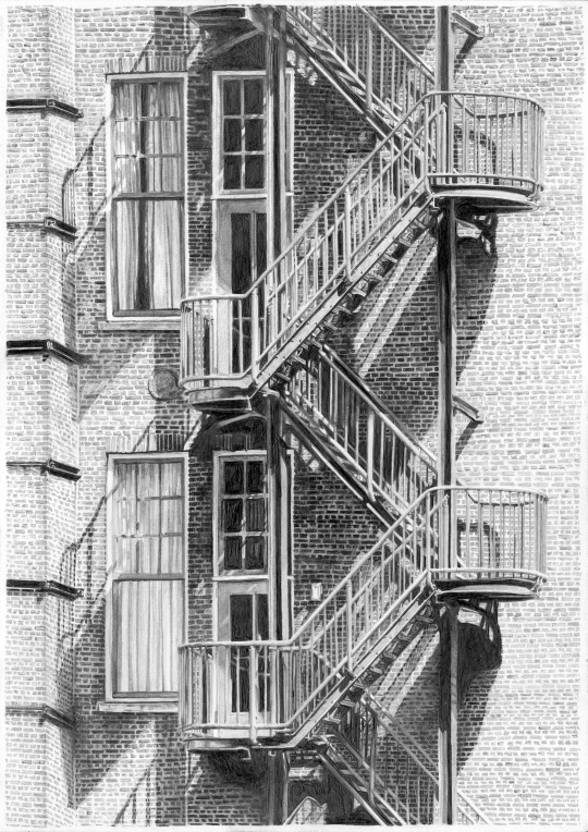 drawing-of-fire-escape-in-sunlight-from-grand-hotel-amrath-ex-scheepvaarthuis