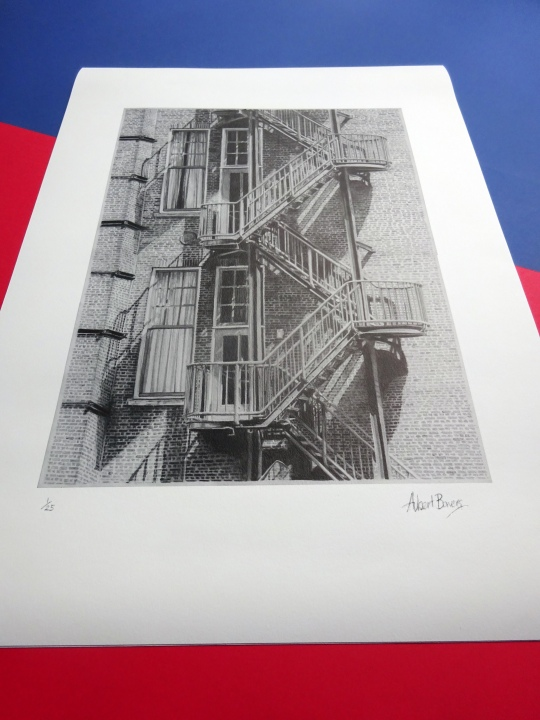 Limited Print Drawing of Fire Escape of Grand Hotel Amrath ex Scheepvaarthuis